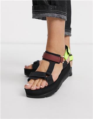 Camper - Oruga - Sandalen met plateauzool in zwart