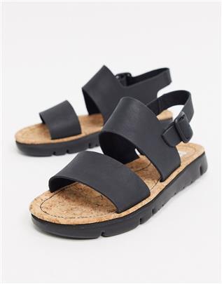 Camper - Platte sandalen van zwart leer