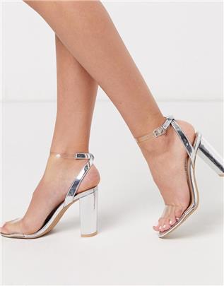 New Look - Sandalen met hak en doorzichtig bandje in zilver