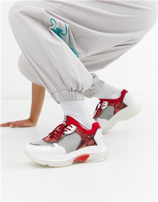 Bronx - Leren sneakers met dikke zool in rood en slangenprint-Multi