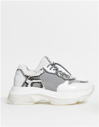 Bronx - Leren sneakers met dikke zool in grijs en slangenprint-Multi