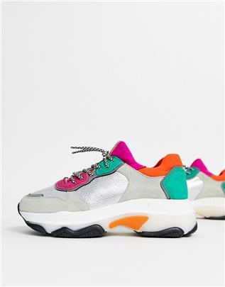 Bronx - Suède sneakers met kleurvlak en dikke zool-Meerkleurig