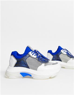 Bronx - Leren sneakers met dikke zool in blauw en slangenprint-Meerkleurig