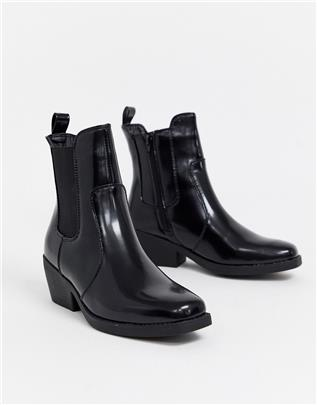 Rubi - Western laarzen met vierkante neus-Zwart