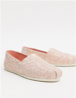 TOMS - Alpargata - Espadrille in roze met glitter