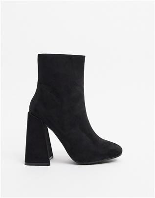 New Look - Laarzen met uitlopende hakken van suedette-Zwart