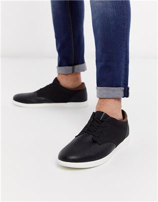 Jack & Jones - Imitatieleren sneakers in zwart