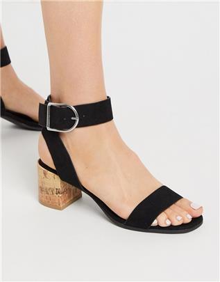 Qupid - Sandalen met halfhoge hak in zwart
