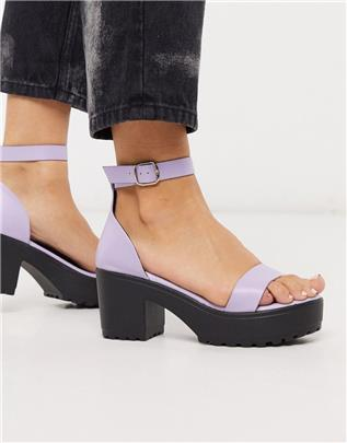 Qupid - Sandalen met dikke zool en hak in lila-Meerkleurig