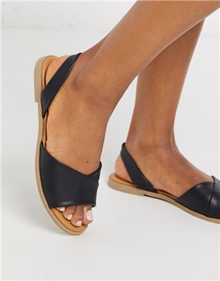Qupid - Platte sandalen met slingback in zwart