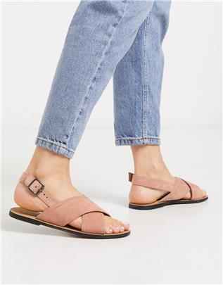 Glamorous - Platte sandalen met band in blushroze