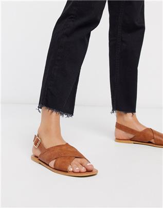 Glamorous - Platte sandalen in lichtbruin