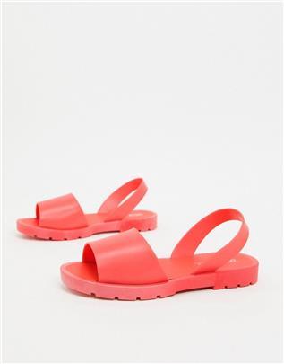 ASOS DESIGN - Finale jelly - Platte sandalen in koraalrood-Oranje