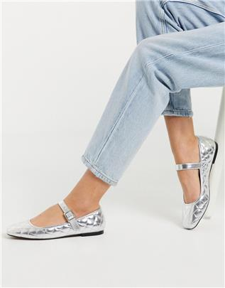 ASOS DESIGN - Learn - Gewatteerde platte Mary Jane ballerina's in zilver