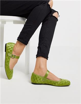 ASOS DESIGN - Learn - Gewatteerde platte Mary Jane ballerina's in groen