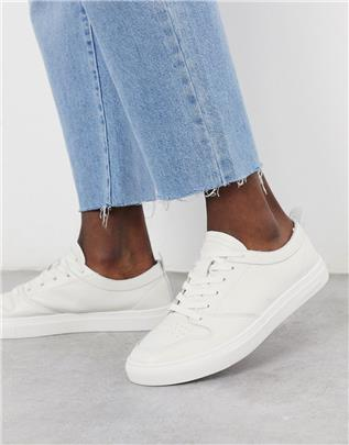 Jack & Jones - Leren sneakers zonder voering in gebroken wit