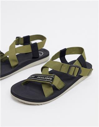 Jack & Jones - Tech - Slippers in kaki-Groen