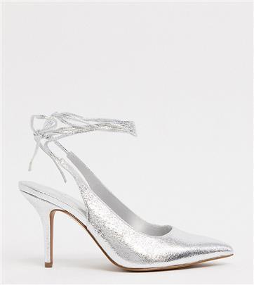 ASOS DESIGN - Witney - Schoenen met halfhoge hak, strikbanden en een brede pasvorm in zilver