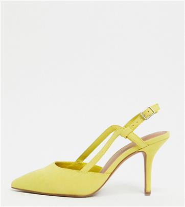ASOS DESIGN - Watkin - Schoenen met halfhoge hak en slingback met brede pasvorm in mosterdgeel