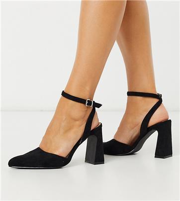 Co Wren - Schoenen met brede pasvorm, blokhak, enkelband en punt in zwart