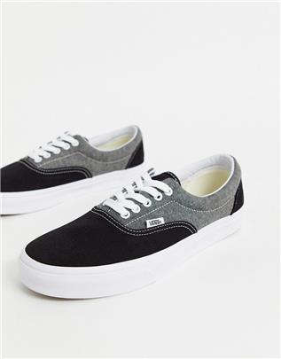 Vans - Era - Skateschoenen van chambray en canvas in zwart en wit