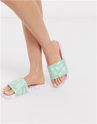 ASOS DESIGN - Foiled - Badslippers met geldprint-Multi