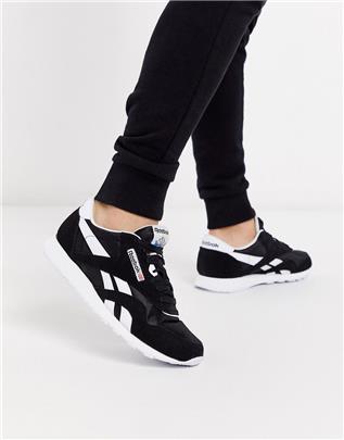Reebok Classic - Nylon sneakers in zwart