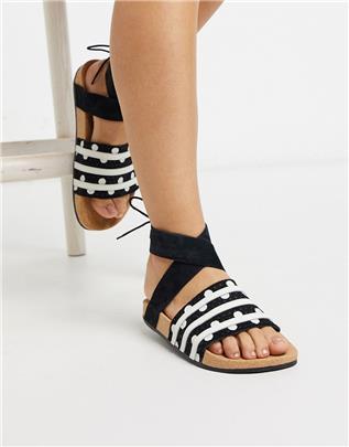 adidas Originals - Adilette - Slippers met wikkelband rond de enkel in zwart