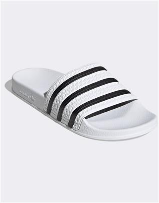 adidas Originals - Adilette - Slippers in wit en zwart