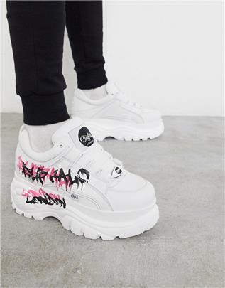 Buffalo - Classic - Sneakers met dikke zool en graffiti-logo-Wit