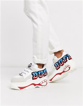Buffalo - Classic - Sneakers met dikke zool en vlagprint-Wit