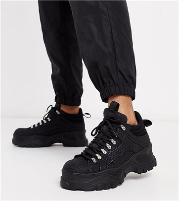 Buffalo - London - Wandelsneakers in zwart met slangenprint