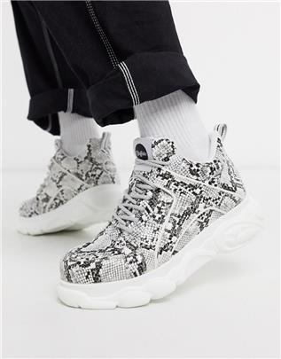 Buffalo - Cloud - Sneakers met dikke zool en slangenprint-Multi