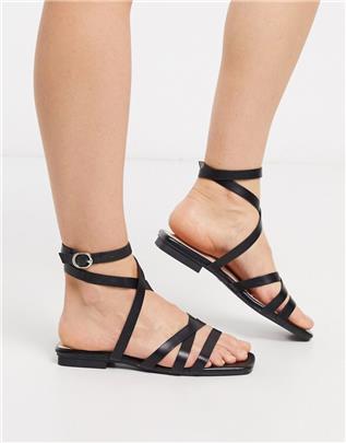 RAID - Ezra - Platte sandalen met bandjes in zwart