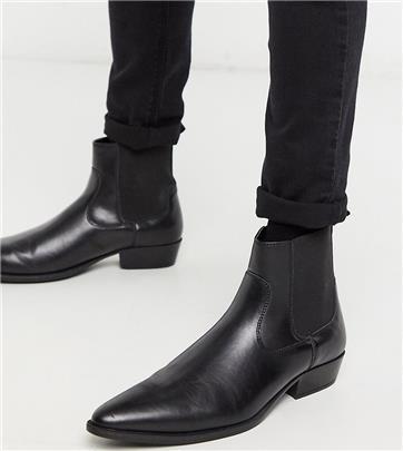 ASOS DESIGN Wide Fit - Vegan chelsea boots in western-stijl van zwart imitatieleer met Cuban hakken