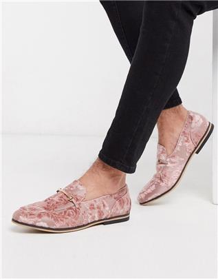 ASOS DESIGN - Loafers met trens in burn-out roze met bloemenprint