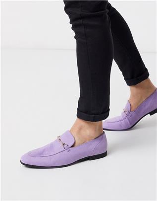 ASOS DESIGN - Loafers van lila suedette met trens-Paars