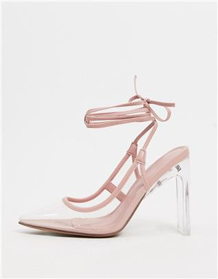 ASOS DESIGN - Palm - Hoge schoenen met strikbanden in beige en doorzichtig