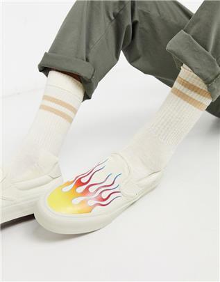 Straye - Ventura - Instappers met vlammenprint-Wit