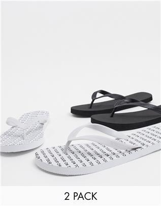 Truffle Collection - Set van 2 teenslippers in zwart-wit-Multi