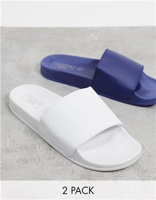 Truffle Collection - Set van 2 paar slippers in wit en marineblauw-Multi