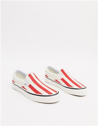 Vans Classic - Gestreepte instapsneakers-Rood