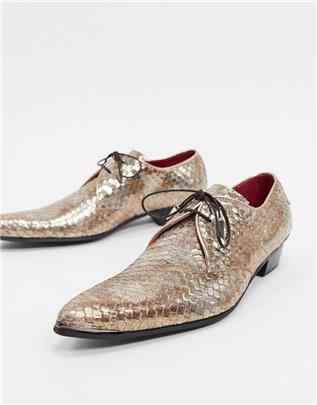 Jeffery West - Adamant schoenen in goud met slangenleer effect
