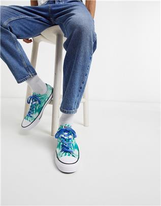 Converse - Chuck Taylor - All Star Ox - Sneakers met tie-dye in groen en blauw