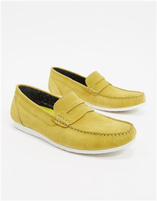Silver Street - Casual loafers van suède in mosterdgeel