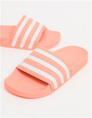 adidas Originals - adilette - Slippers in roze-Wit