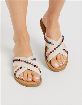 TOMS - Viv - Sandalen met pompon in natuurlijke kleur-Beige