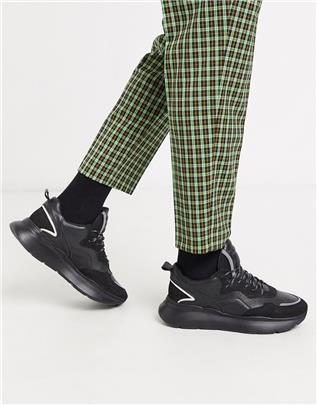 Bronx - Grayson - Sneakers met dikke zool van zwart leer