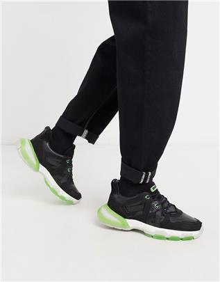 Bronx - Sevety Street - Sneakers in zwart en neon groen-Crème