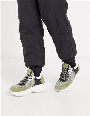 Bronx - Baisley - Sneakers met dikke zool in kaki-Multi